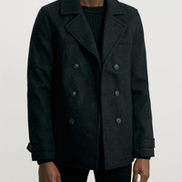 CHECK WOOL BLEND PEACOAT - Formal Coats and Jackets - Men's Jackets & Coats - Clothing