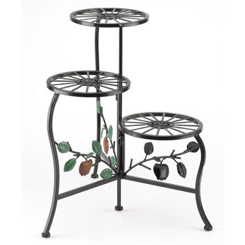 Tiered Plant Stand, Iron Modern Decorative Plant Stands - Black