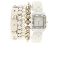 Rubber-Link Watch & Bracelet 5-Piece Set: Charlotte Russe