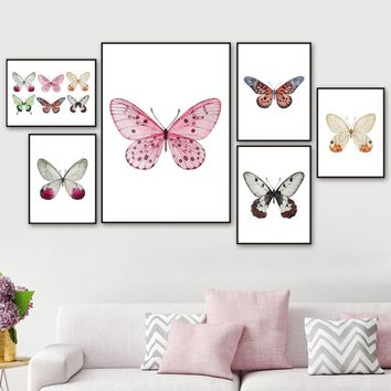Watercolor Butterfly Specimens Wall Art Canvas Painting Nordic Posters And Prints Wall Pictures For Living Room Kids Room Decor