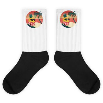 Pineapple Socks For Men | Tropical Hawaiian Sock | The Jazzy Panda