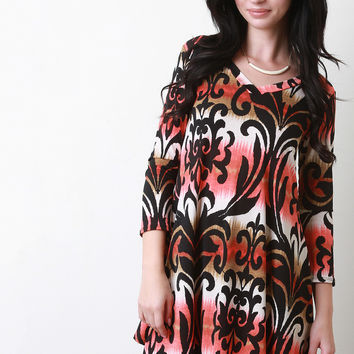Tie-Dye Damask Print V-Neck Dress