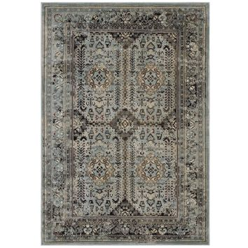 Enye Distressed Vintage Floral Lattice 5x8 Area Rug