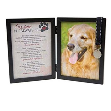 Pet Memorial Picture Frame for Dog with Pet Tag and Pet Memorial Clip on Charm