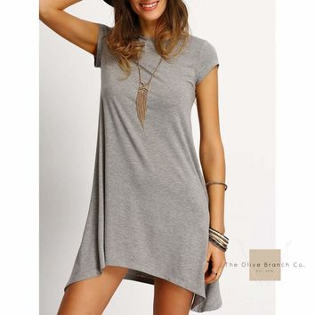 Asymmetric Hem Casual Shift Dress