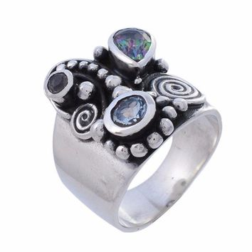 Arvino Sterling Silver Ring with Blue Topaz and Mystic Quartz Gemstone