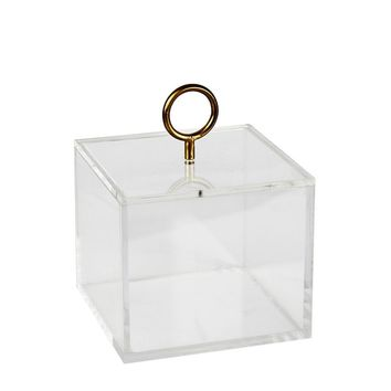 Acrylic Storage Box With Circle Loop Handle, Gold And Clear