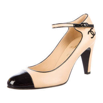 Leather Cap-Toe Pumps w/ Tags