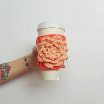 Irish Rose Crochet Coffee Cozy in Mango with Peach Rose, ready to ship.