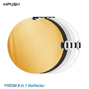 HPUSN 110cm 5 in 1 Photography Studio Light Mulit Photo Disc Collapsible Light Reflector Round Disk with Zipped Carrying Bag