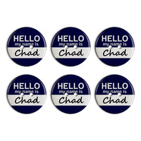 Chad Hello My Name Is Plastic Resin Button Set of 6