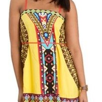 Peach Puff Canary Yellow Aztec Dress 15F224
