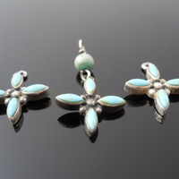 Sterling Silver 925 Turquoise Flower Or Turquoise Cross 3 Piece Set Vintage Jewelry Making Supplies