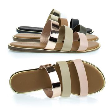 Stardust51 Blush Beige Gold By Bamboo, Comfortable Padded Flat Gladiator Sandal w Multi Colored Block