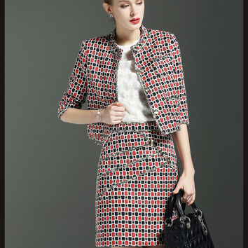 Elegant women suit bead plaid O neck 2pcs office suit