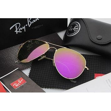 Ray Ban Aviator Sunglasses Gold Frame Purple Flash Lens Mirrored RB 3025