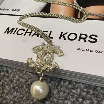 CHANEL Fashion New More Pearl Long Necklace Woman Golden