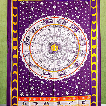 Astrology Tapestry,Tapestry , Hippie Tapestries, Indian Zodiac Bedspread Bed Cover, Throw Boho Wall Hanging Twin Hippie Coverlet, Bohemian