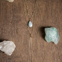 FACETED BLUE AMAZONITE - Wrap Choker - Sky Blue Stone, Boho Chic Jewelry, Gifts for her, Minimal Choker, Long Chain Necklace, Bolo Choker