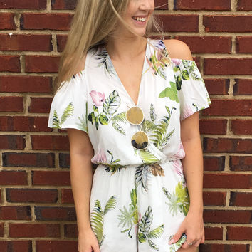 You're My Paradise Romper - White