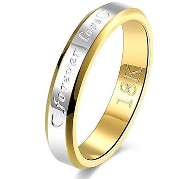 BEMI Romantic Forever Love AAA CZ Stainless Steel Promise Wedding Engagement Bands Ring for Couples