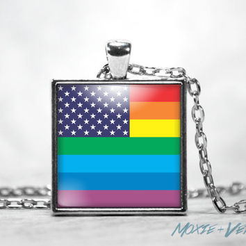 Gay Pride Necklace, LGBT, Rainbow Flag, Equality, American Flag, Glass Photo Jewelry