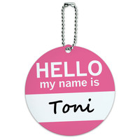 Toni Hello My Name Is Round ID Card Luggage Tag