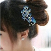Lovely Vintage Jewelry Crystal Peacock Hair Clips F- for hair clip Beauty Tools