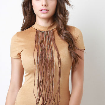 Hoop Collar Long Fringe Necklace