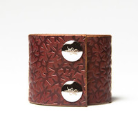 Chestnut Brown Leather Cuff  - Embossed with Thorns - Nickel Fasteners - 2 Inches Wide