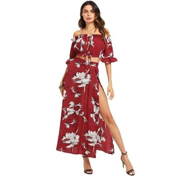 Burgundy Crop Bardot Top And High Slit Skirt Set Women Ruffle Off The Shoulder Flare Sleeve Drawstring Boho 2 Piece Sets