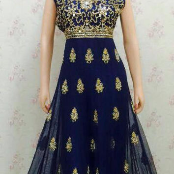 Nany Blue Anarkali Suit With Georgette and Net