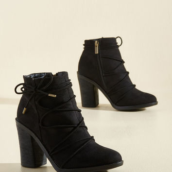 From Ties to Time Block Heel Bootie