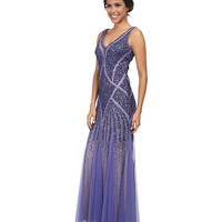 Adrianna Papell Beaded V-Neck Mermaid Gown Deep Violet - 6pm.com