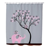 Elephant and Owls Shower Curtain