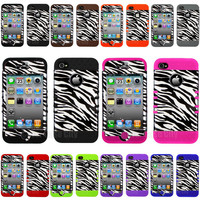 Black Zebra Skin Hybrid Hard Cover Case for Apple iPhone 4 4S Phone Accessory