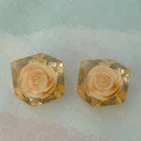 Peach Roses Reverse Carved Lucite Clip Earrings Floral Vintage Jewelry