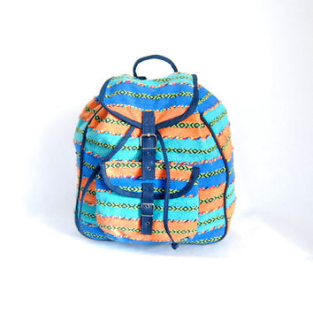 vintage colorful SOUTHWESTERN patterned striped backpack