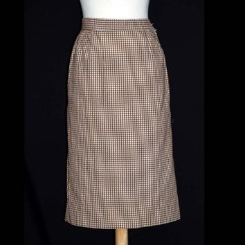 Vintage 60s Secretary Pin-up Pencil Skirt Seersucker Checks