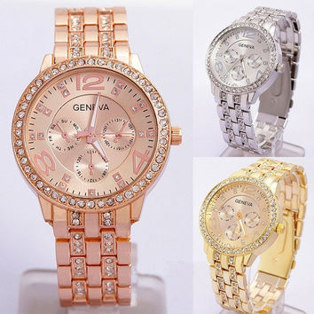 New Luxury Women Anolog Quartz Crystal Rhinestone Wrist Watch Decor Gift = 1956891652