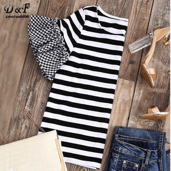 Striped T-shirt With Gingham Ruffle Sleeve Top Women