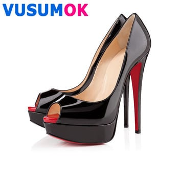 Womens Pumps Patent Leather Wedges Platform Stiletto Red Bottom High Heels Red Sole Open Toe  Sexy Party Shoes West Gwendle