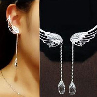 Angel's Wing Dangling Rhinestone Ear Cuffs