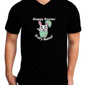 Happy Easter Every Bunny Adult Dark V-Neck T-Shirt by TooLoud