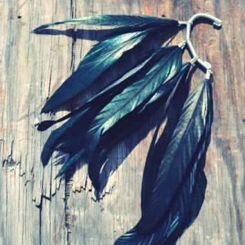 Raven Black crow feather ear cuffs by fancyThataccessories on Etsy