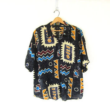 Loose fit tribal shirt Black southwestern button up shirt Slouchy rayon PRINT shirt Black Hipster Urban Geometric Women's Plus Size 1X