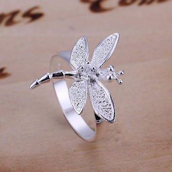 SALE!!! Ring, Silver, Dragonfly, Story, Sterling Silver, CZ, Cubic Zirconia, .925 Ring, Dragonfly Story   On Sale While Supply Lasts!!