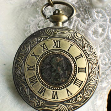 Ancient roman coin pocket watch, roman coin pocket watch with genuine roman coin