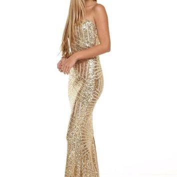 Saw The Light Strapless Sequin Dress