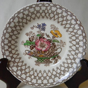 Pink Yellow Green Floral Brown Transferware Candy Bowl / Trinket Dish